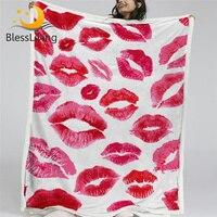 BlessLiving Watercolor Kisses Blanket For Bed Fashion Sherpa Blanket Red Lips Glitter Plush Blanket Women Pop Art Girl Bedding
