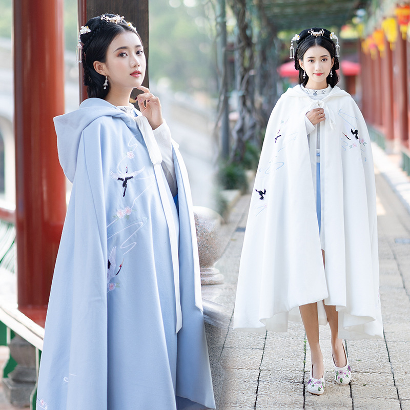 Women Embroidery Hanfu Overcoat Autumn And Winter Cloak Festival Rave Outfit Ladies Hooded Folk Coat Performance Clothing DC3451