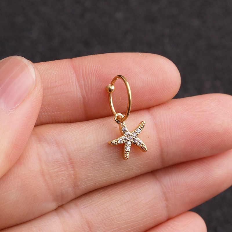 Sellsets 1 Piece CZ Dangle Helix Daith Cartilage Piercing Jewelry Hoop