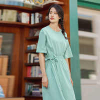 INMAN 2020 Summer New Arrival Literary Pure Cotton Round Collar Pure Color Asymmetrical Shir Nipped Waist Dress