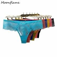 Cotton Thongs Moonflame Panties Underwear Lace Sexy Transparent Hot-Sale XL Women's 5pcs/Lot