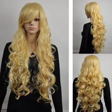 Hot heat resistant Party hair FREE shun>> sexy cosplay costume yellow womens hand weave curly long wig(China)