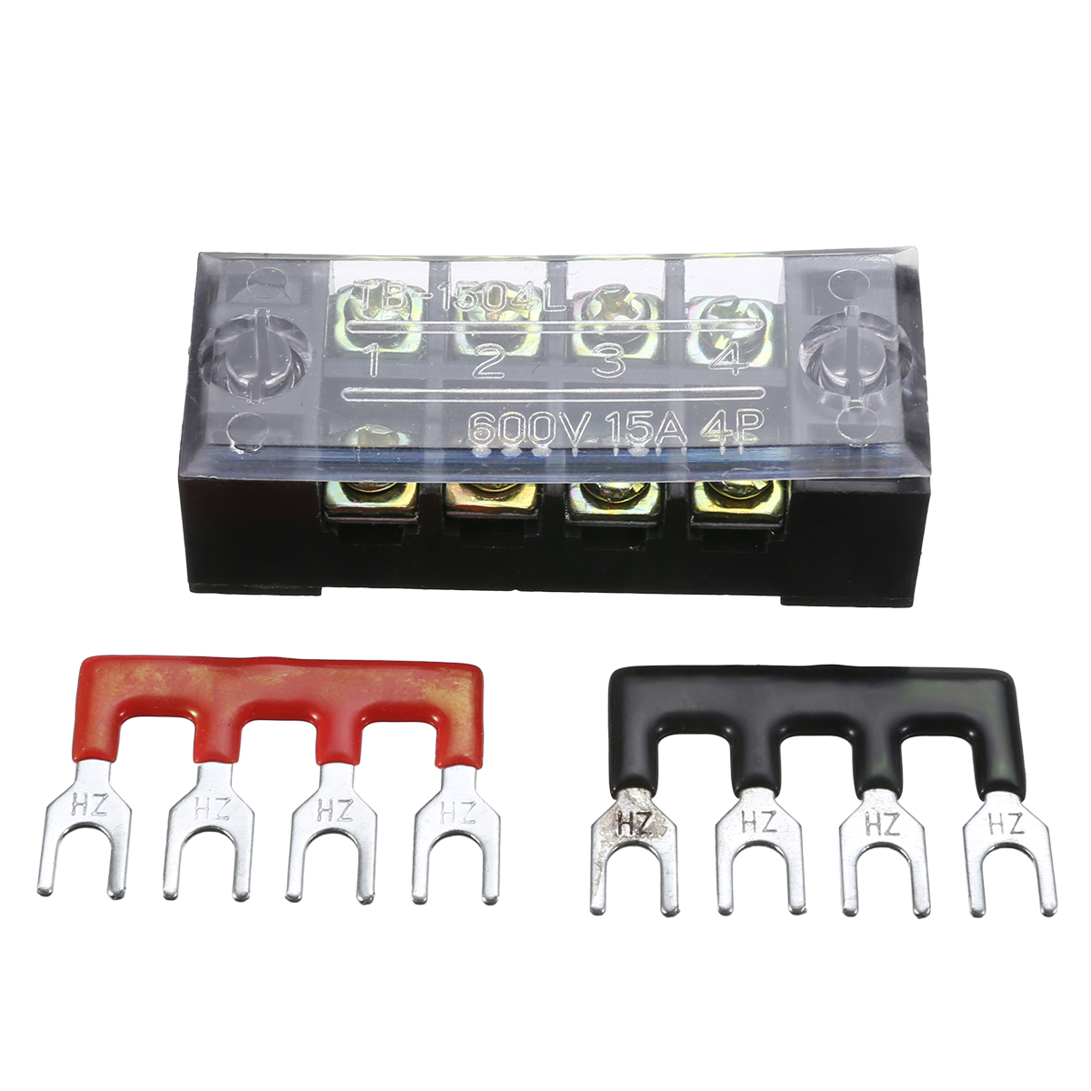 1pc 4P 600V 15A Dual Row Wire Screw Barrier Terminal Block Power Distribution Terminal for Home Wire with 2 Connector Strips image