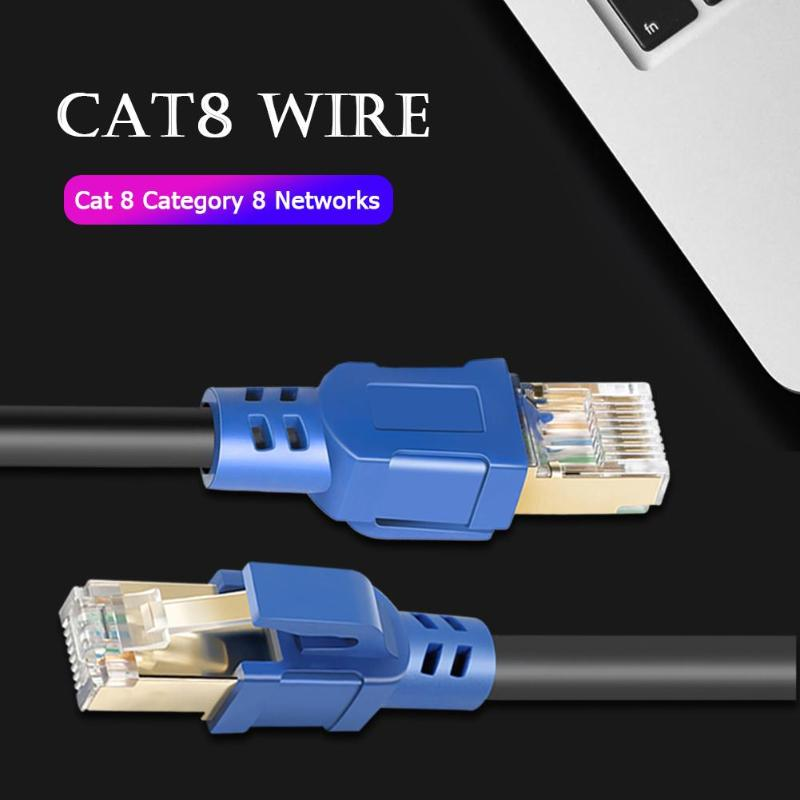 Cat8 Ethernet Cable RJ45 8P8C 25/40Gbps Home Router Network Connection Cord Gold Plated Shielded Cat8 Ethernet Connector Cable