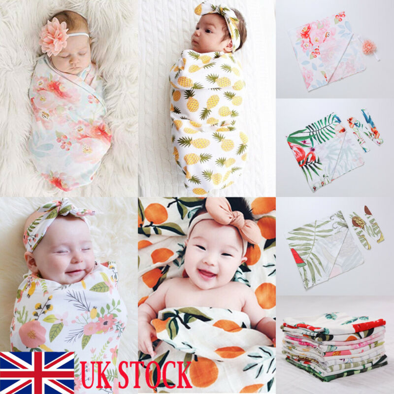 UK Newborn Cute Swaddle Blanket Baby Boys Girls Sleeping Bag Wrap Headband Cloth