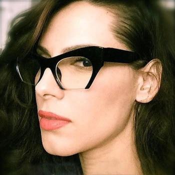 SO&EI Fashion Retro Half frame Cat eye Women Glasses Frame Can Be Equipped with Myopia Prescription Lens Men Glasses Frame