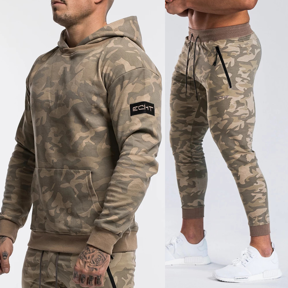 Brand Tracksuit Camo Hoodie Pants Sets Men Casual Sweatshirt Joggers Sweatpants Male Cotton Jacket Autumn Winter Sportswear Suit