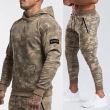 Brand Tracksuit Camo Hoodie Pants Sets Men Casual Sweatshirt Joggers Sweatpants Male Cotton Jacket Autumn Winter Sportswear Suit