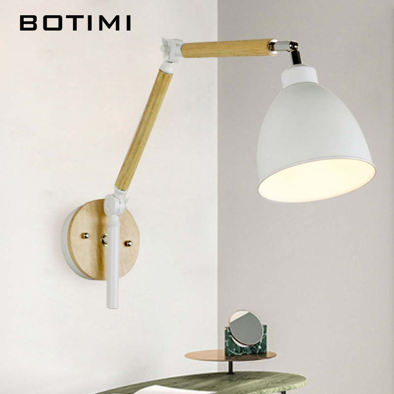 BOTIMI <font><b>Nordic</b></font> LED <font><b>Wall</b></font> <font><b>Lamp</b></font> Wooden <font><b>Wall</b></font> Sconce Adjustable Luminaira Metal Lampshade Bedside Light White Reading Lighting Fixture image