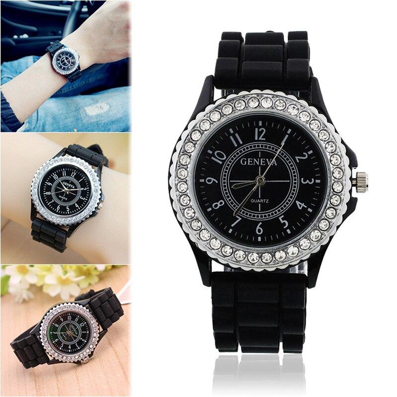 Top Luxury Brand Fashion Crystal Quartz Watches Women Fashion Silicone Wristwatch Relogio Feminino Masculino 8O61