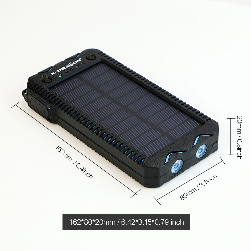Waterproof Solar Power Bank with Cigarette Lighter and Dual USB Output Ports for Smartphone Charging 3
