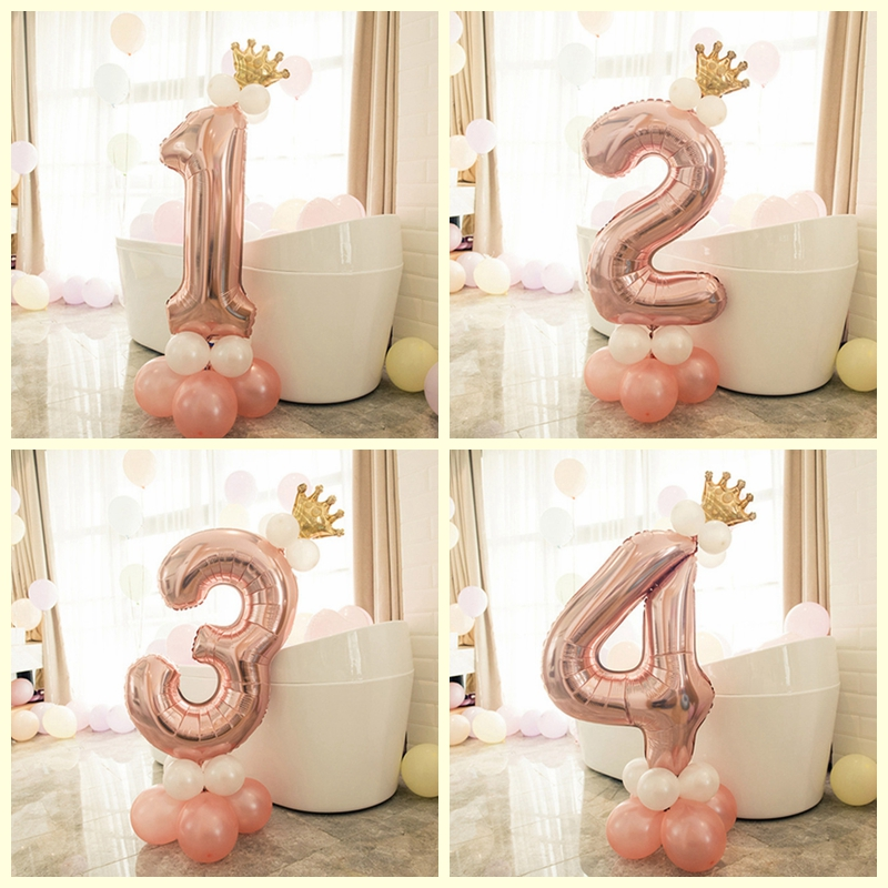 13 pçs número folha rosa ouro látex balões feliz aniversário decorações da festa crianças menina do bebê 1st 1 2 3 4 5 6 7 8 9 um anos de idade
