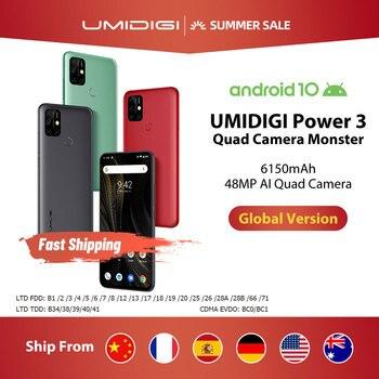 """UMIDIGI puissance 3 48MP Quad AI caméra 6150mAh Android 10 6.53 """"FHD + 4GB64GB NFC téléphone portable Triple fentes 10W charge rapide"""