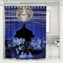 Halloween Decoration Moon Shower Curtain Skull Starry Night 3D Shower Curtain Waterproof Mildewproof Bathroom Bath Curtains Blue waterproof happy halloween ghost bath curtain