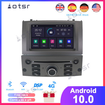 64GAndroid 10.0 Car DVD Player Multimedia Stereo For Peugeot 407 2004 2005 2006 2007 2008 2009 2010 Autoradio GPS Navigation image