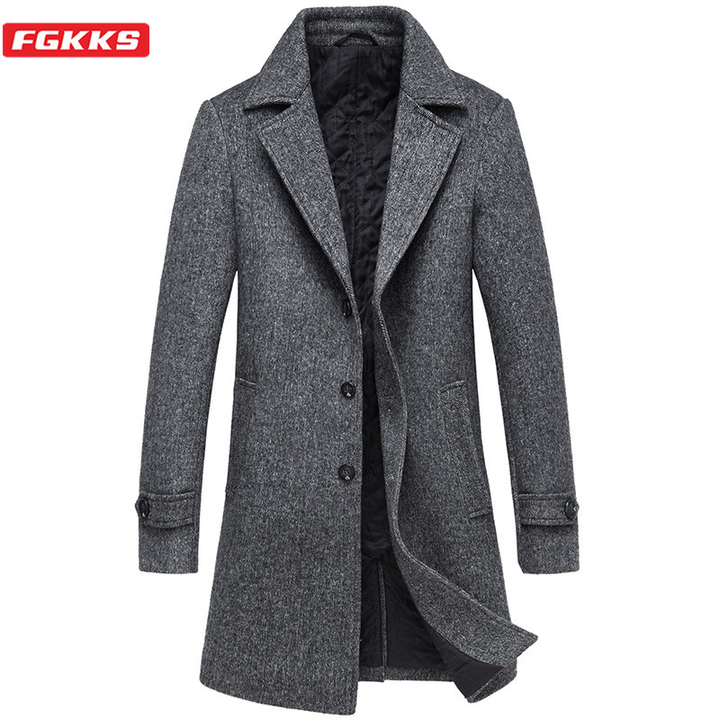 FGKKS Winter Men Wool Blend Coats Brand Men's High Quality Wool Overcoat Business Long Section Wool Coat Male (With Scarf)