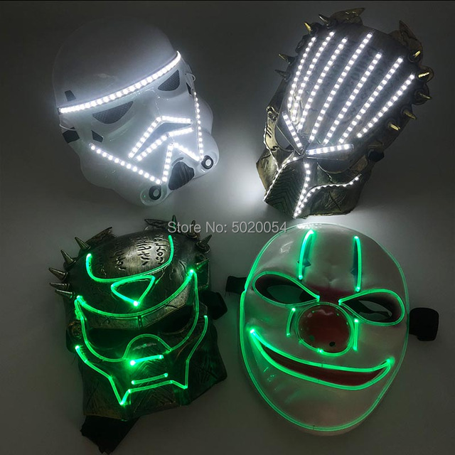 Night Glow Plastic Optical Fiber LED Face Mask Novelty Anime Cosplay Costumes DIY Kpop Accessories powered by remote control