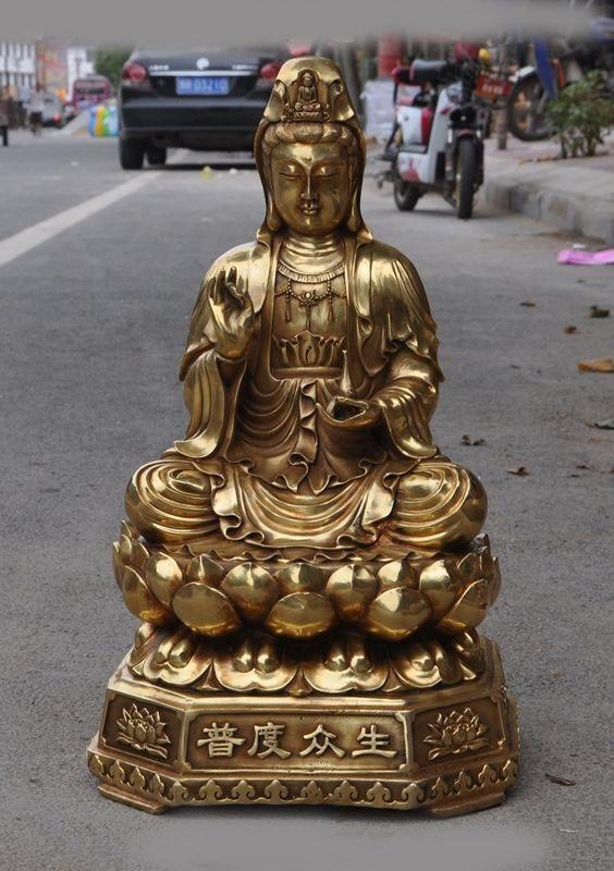 """wedding decoration 21""""Old Chinese buddhism brass kwan yin GuanYin Bodhisattva Goddess buddha statue Statues & Sculptures     - title="""