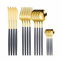 Нержавеющаясталь столовые приборы ложка вилка комплект золотой