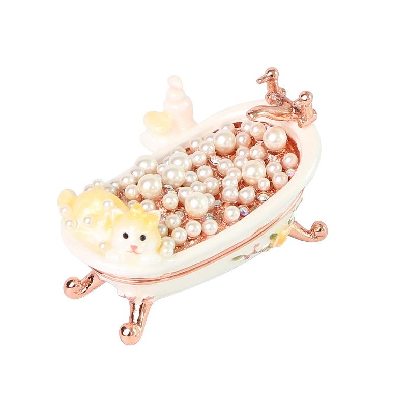 Japon Piearth Kitty baignoire fait main boîte à bijoux petit meubles européens bijoux boîte de rangement étui pour bijoux boîte-cadeau