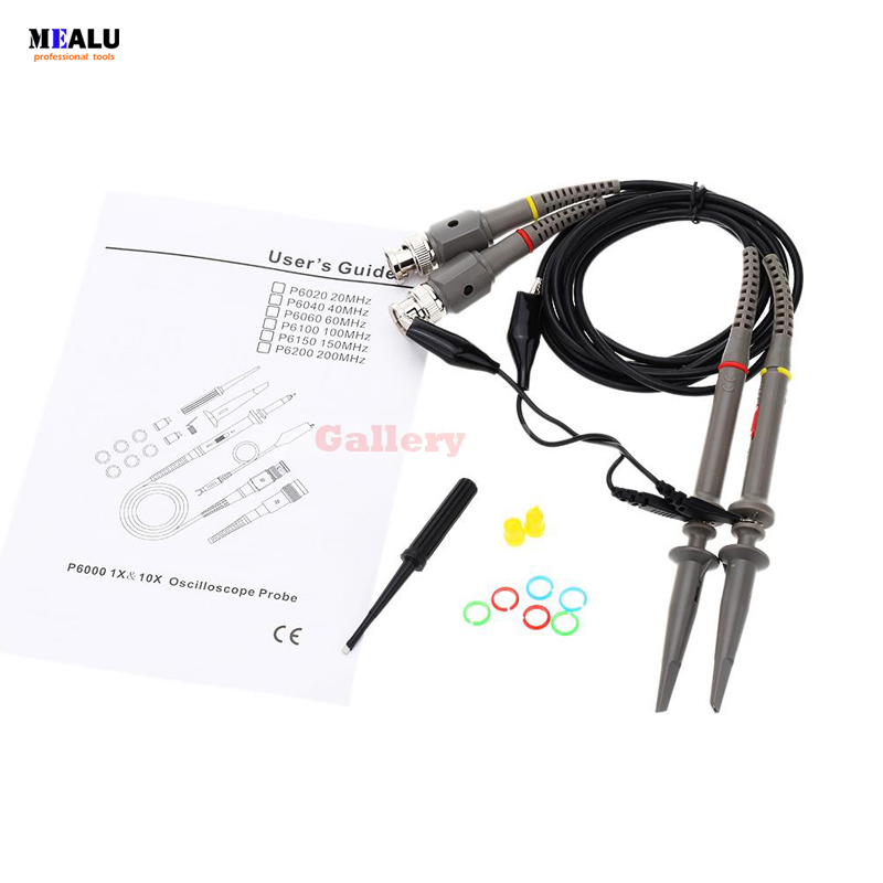 P6100 Oscilloscope Probe Kit 10x High Precision Scope Analyzer Abgreifklemme Probe-messleitungen 2set