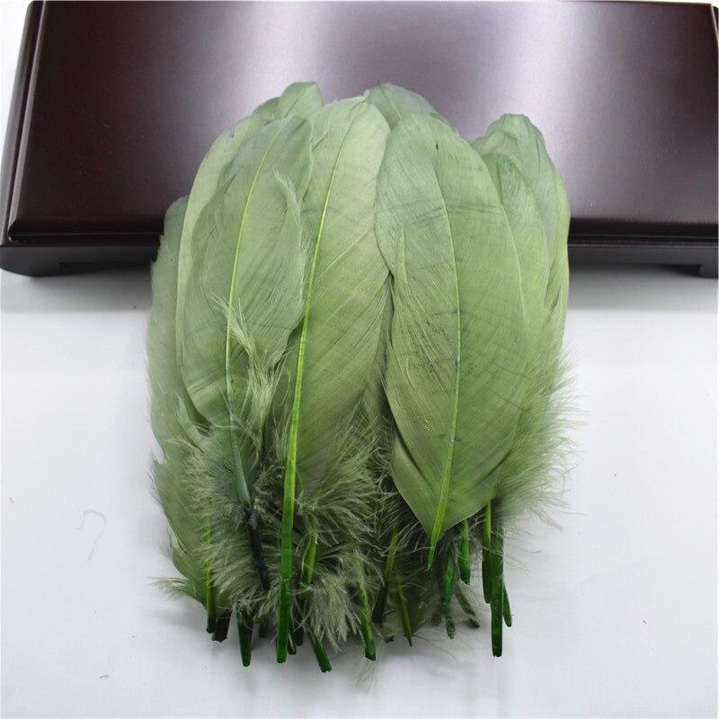 Жесткий полюс, натуральные гусиные перья для рукоделия, 5-7 дюймов/13-18 см, самодельные ювелирные изделия, перо, свадебное украшение для дома - Цвет: ArmyGreen