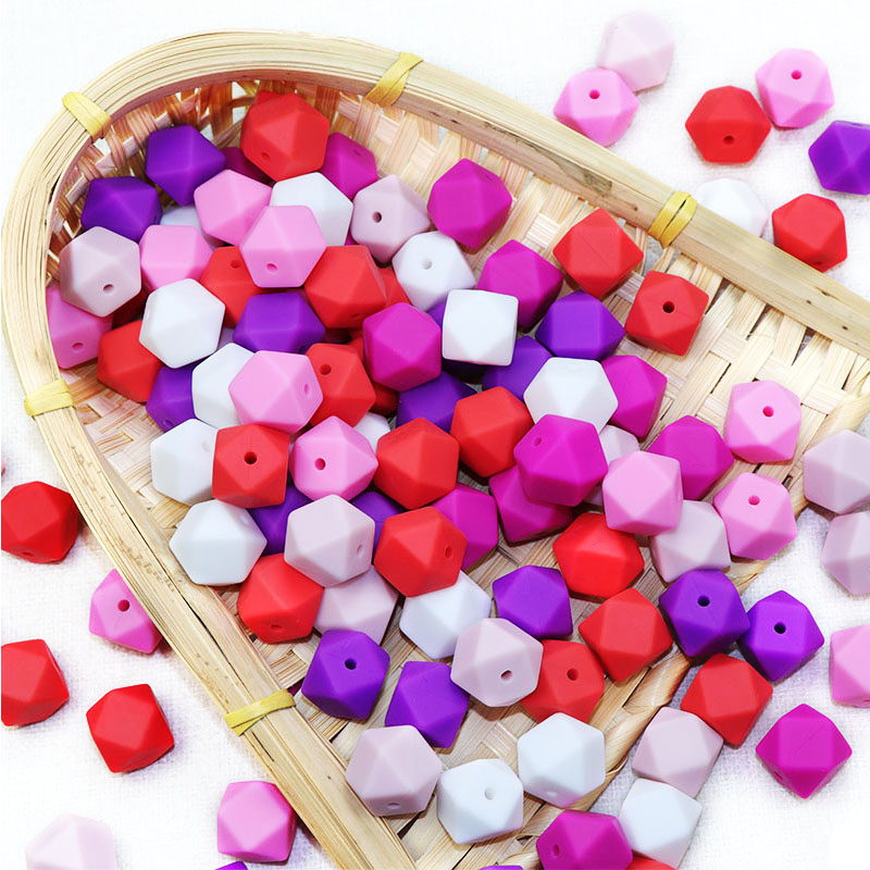 Joepada 10 Pieces 14mm Hexagon Silicone Beads Teething Baby Teether Baby DIY Toy Baby Shower Gift Necklace Pacifier Chain