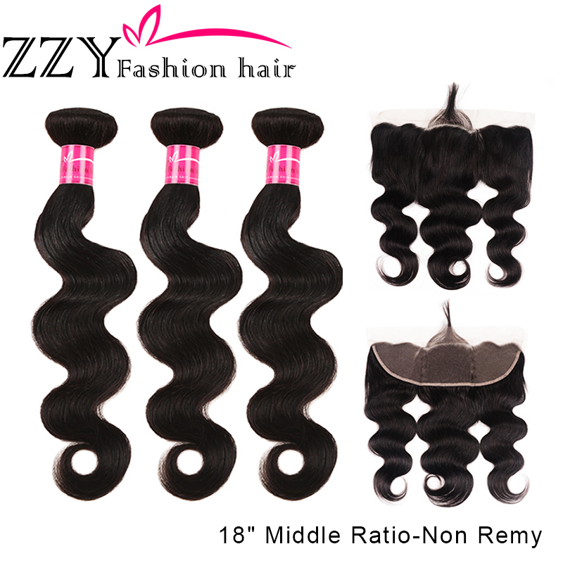 ZZY Fashion Hair Brazilian Body Wave Bundles With Frontal Human Hair Weave Bundles Middle Ratio Non Remy Ear To Ear Lace Frontal