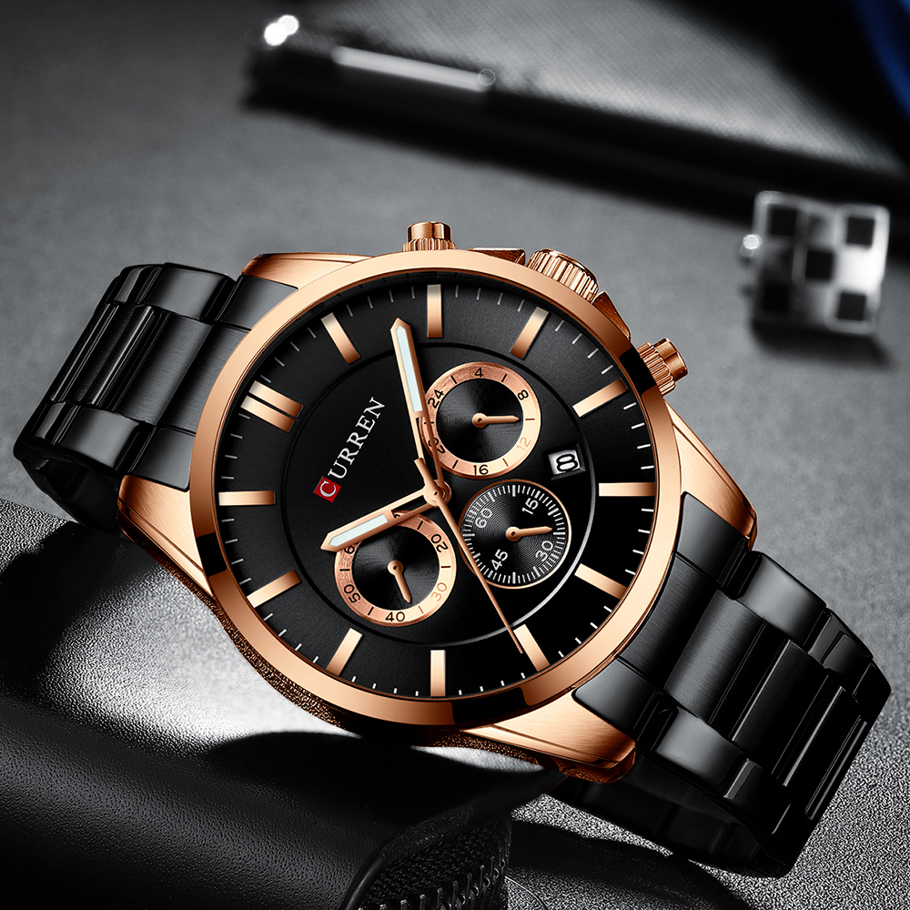 Image 5 - Reloj Hombres Luxury Brand CURREN Quartz Chronograph Watches Men Causal Clock Stainless Steel Band Wrist Watch Auto DateQuartz Watches   -