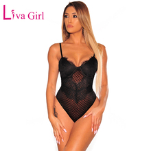 LIVA GIRL Black/White Lace Padded Bustier Bodysuit Women Sexy Sheer Adjustable Strap Sleeveless Jumpsuit Bodycon Female Top Club