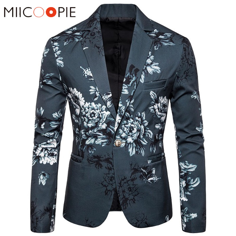 Floral Printed Mens Suit Jacket Blazers Casual Single Button Blazer Hombre 2019 Luxury Flower Designs Slim Fit Blaizer Masculino