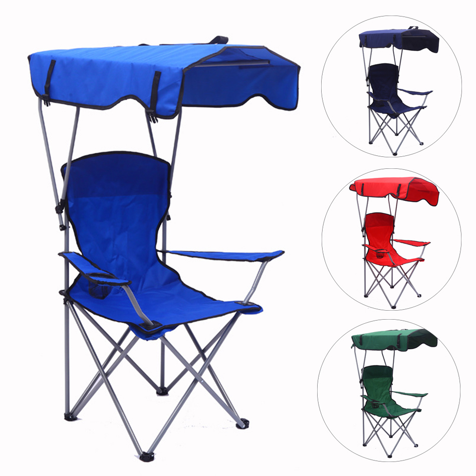Backpack Camping Outdoor Lightweight Portable Folding Fishing Sunshade Beach Chair Canopy Foldable Hike Footrest Cup Arm Chairs