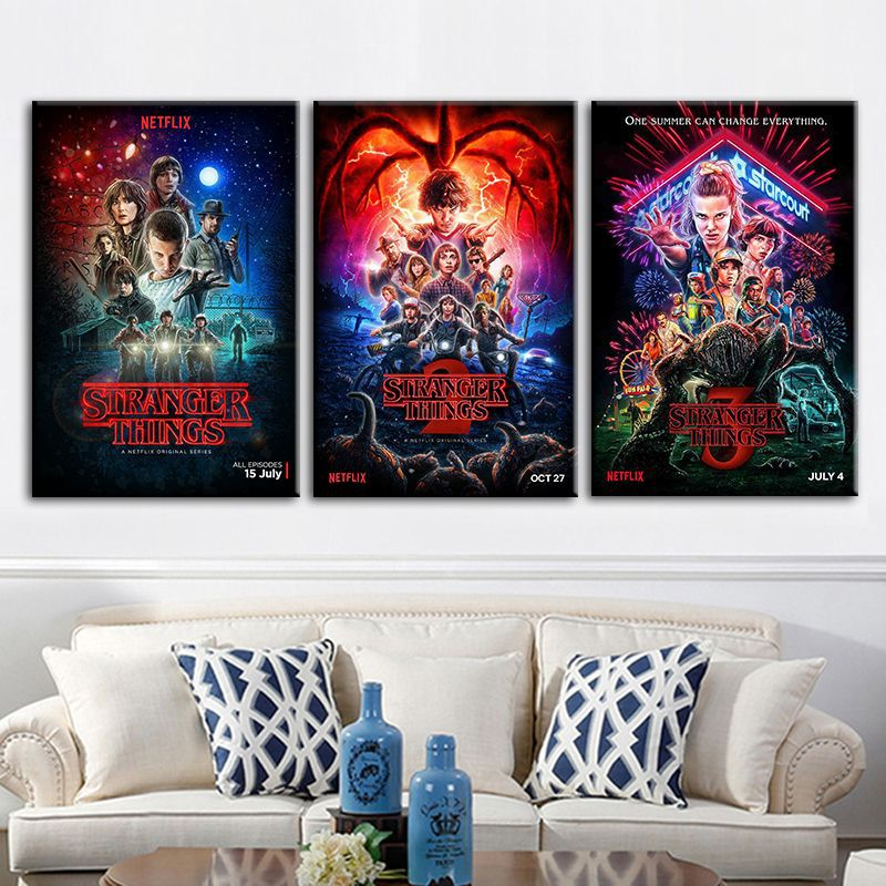 Wall Art Painting Stranger Things Season 3 Posters TV Movie Silk Cloth Prints Picture For Living Room Bedroom Decors