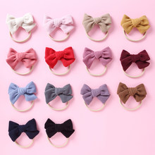 14 cores feito à mão crianças recém-nascidos arco náilon headbands macios náilon headwear elástico cabeça banda