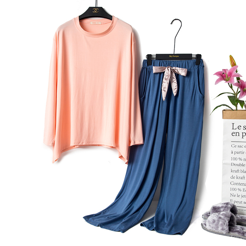 18 Autumn & Winter Pajamas WOMEN'S Long Sleeve Modal Korean-style Large Size Cotton Fat Mm Loose And Comfortable-Outer Wear Trac
