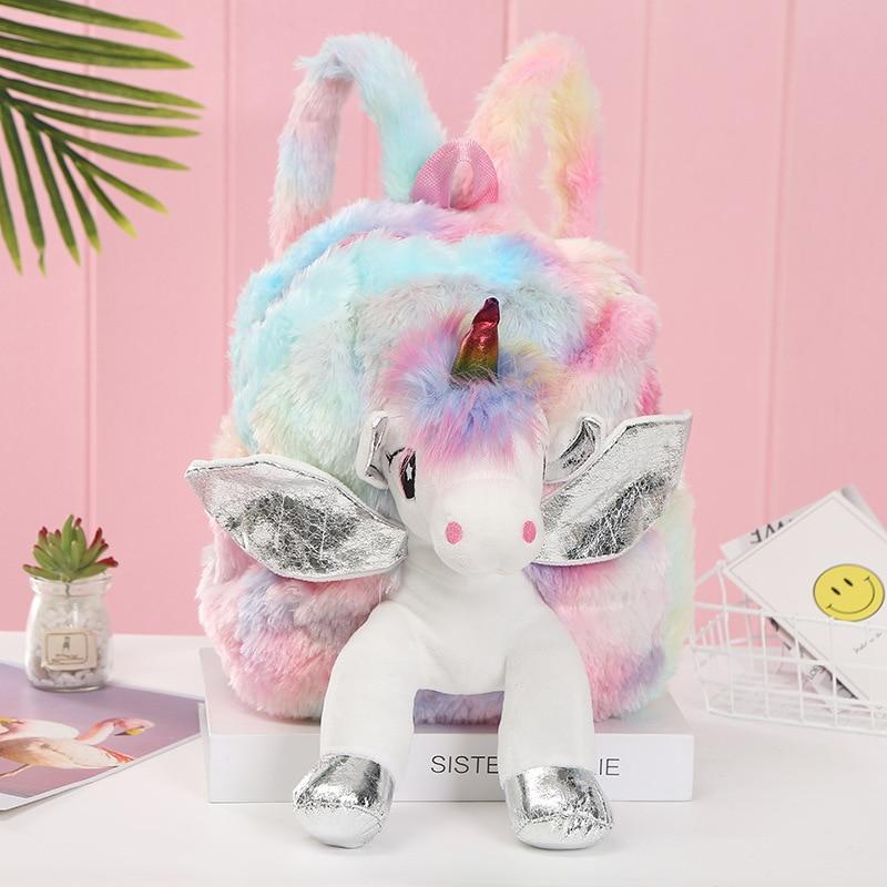 Baby Girl Unicorn Fur Backpack Cute Children 3D Zipper Schoolbag Mini Kid Toy Doll Backpack For Kidergarten New Plush Bag