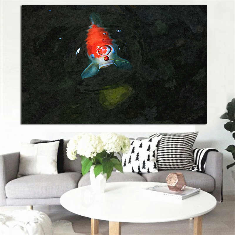 Moder Home decoration Landscape Painting Chinese Koi Fish Lotus Canvas Prints Feng Shui Animal Picture For Living Room Wall Art