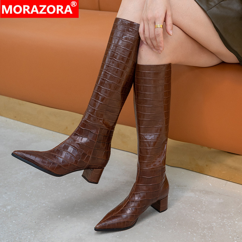 MORAZORA 2021 New arrival fashion knee high boots genuine leather boots high heels pointed toe winter women boots black white