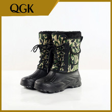 QGK New Men Fishing Boots Hunter Rain with Fur Waterproof Camouflage Winter Comfortable Warm Casual Male Shoes