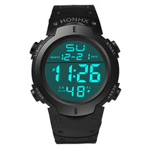 HONHX Electronic Watch Men's Fashion Simple LCD Digital Stopwatch Date Rubber н