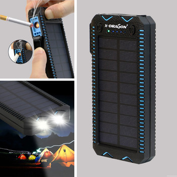 Dual USB Port Solar Power Bank with 15000mAh High Capacity Battery and Cigarette Lighter