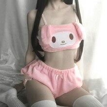 Mädchen Winter Entzückende Unterwäsche Anime Lange Ohr Doggy Bh und Pumphose Rosa und Weiß Kawaii Samt Rohr Top und Höschen set für