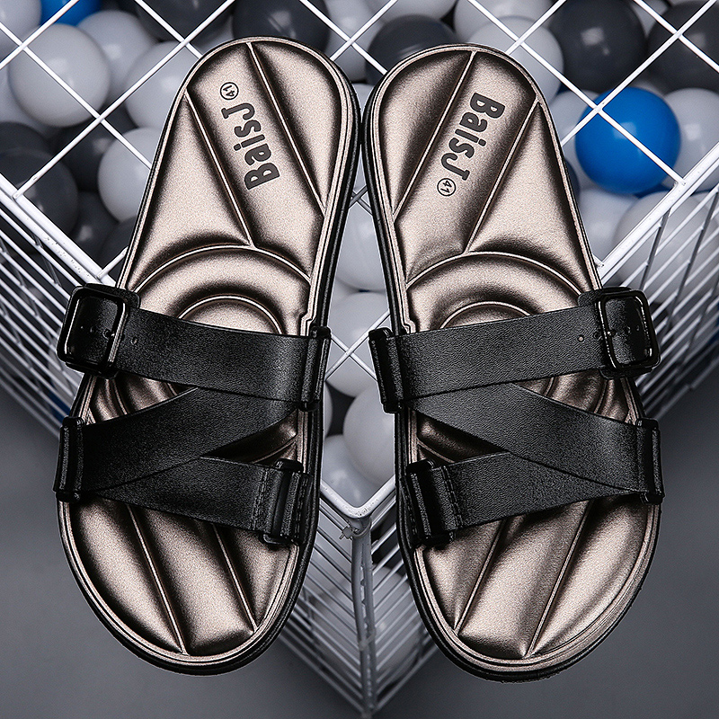 New Cool Home Slippers For Men Comfortable Slide Flip Flops Man Wearable Outdoor Slippers Men Black Red Men Casual Beach Shoes