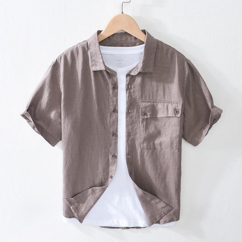 Pure Linen Shirts Men Casual Short Sleeve Tees Man Summer Fashion Breathable Tops Y2825
