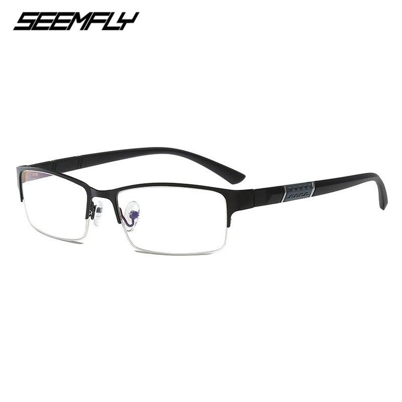 SEEMFLY Half Frame Business Men's Glasses Frame Retro Anti-Blu-ray Finished Myopia Glasses Ultralight Student Flat Lens 0 To 600