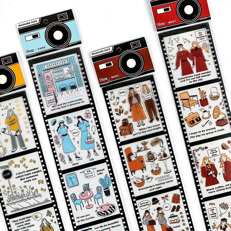 Mohamm 65mm X 350mm Long PET Washi Masking Tape Light Film Series Simple Character Creative Scrapbooking Stationary School Suppl