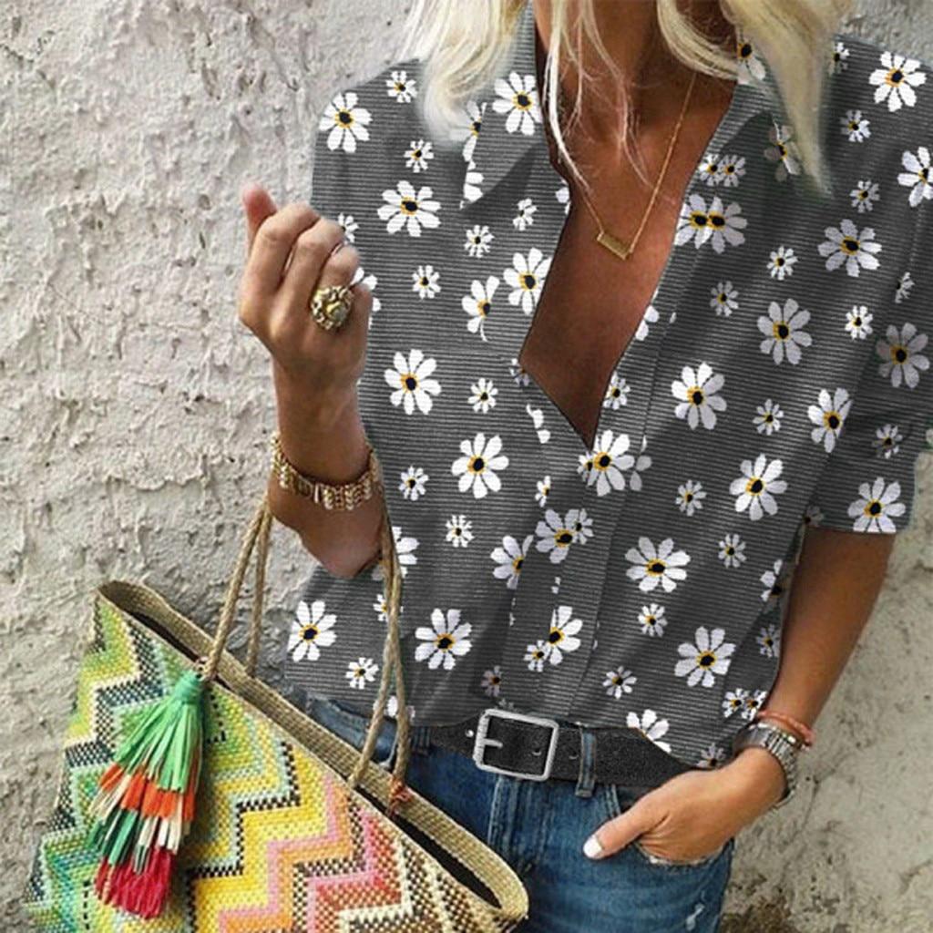 Женская Повседневная Блузка размера плюс, рубашка с отворотами, полосатая рубашка с принтом ромашек, свободные блузки с коротким рукавом, элегантные блузы с отложным воротником| |   | АлиЭкспресс