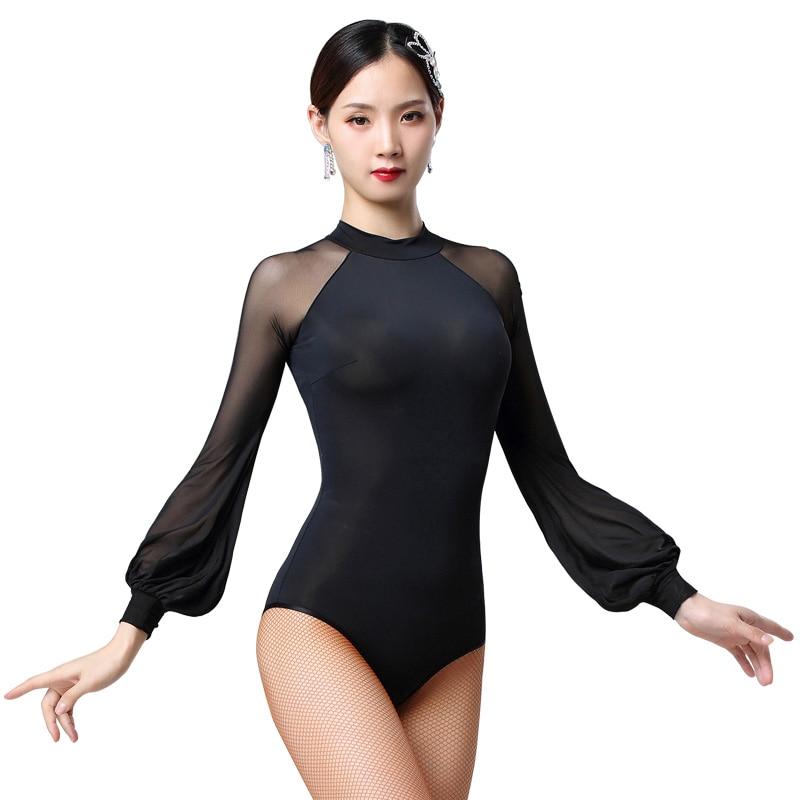 New Sexy Latin  Leotard Dance Clothes Women Latin Salsa Rumba Chacha Dance Long Sleeve Performance Practice Costume