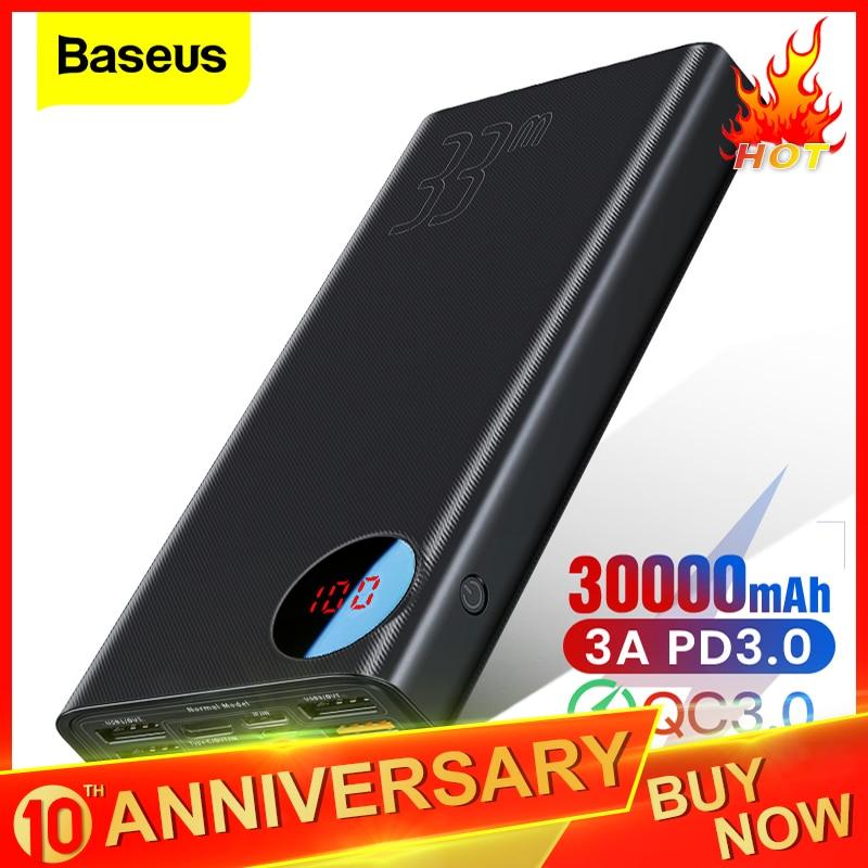 Baseus Quick Charge 3.0 30000mAh Power Bank Type C PD 30000 MAh Powerbank Portable External Battery Charger For IPhone Xiaomi Mi