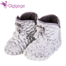 Glglgege Fashion Indoor Home Slippers Warm Soft Plush Comfortable Pure Color Cute Women boats Girl gift